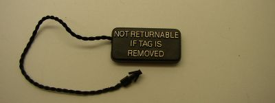Jewelry Plastic Not Returnable Tag
